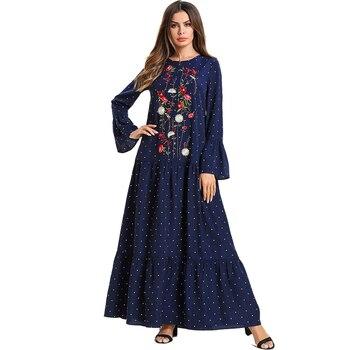 69a89967a2 2018 mujeres de invierno terciopelo Abaya musulmana Maxi vestido Dubai  abayas manga larga Kaftan islámica Vestidos azul marino vestido tamaño  grande