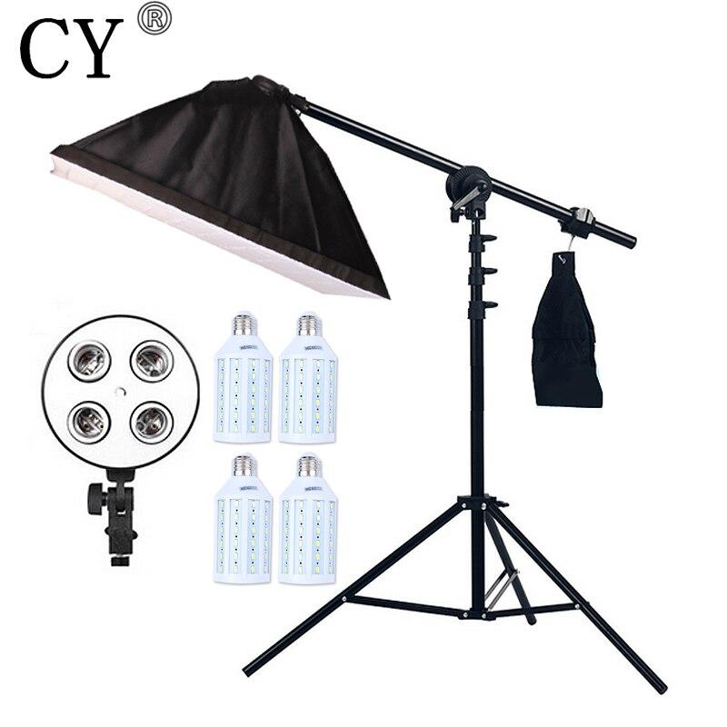 4pcs 20W LED Light Photo Studio Video Lighting Kit Light Stand*SoftBox With 4 * E27 lamp holder*Boom Arm 75-135cm Hairlight new 324w photo studio lighting softbox video 5500k led bulb light kit 9bulbs