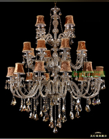 Grand Hall 24 Arm Vintage Crystal Lamp Chandelier Light Fixtires Traditional Wrought Iron Chandeliers Hotel Lobby