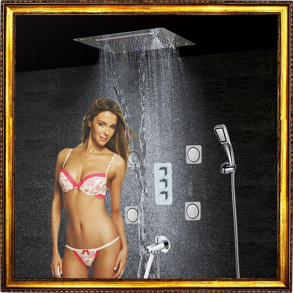 Bathroom Shower Faucet Set Wall Bath Panel Tap Thermostatic Shower Mixer LED Ceiling Rain Waterfall Mist Shower Head Jets CS5326