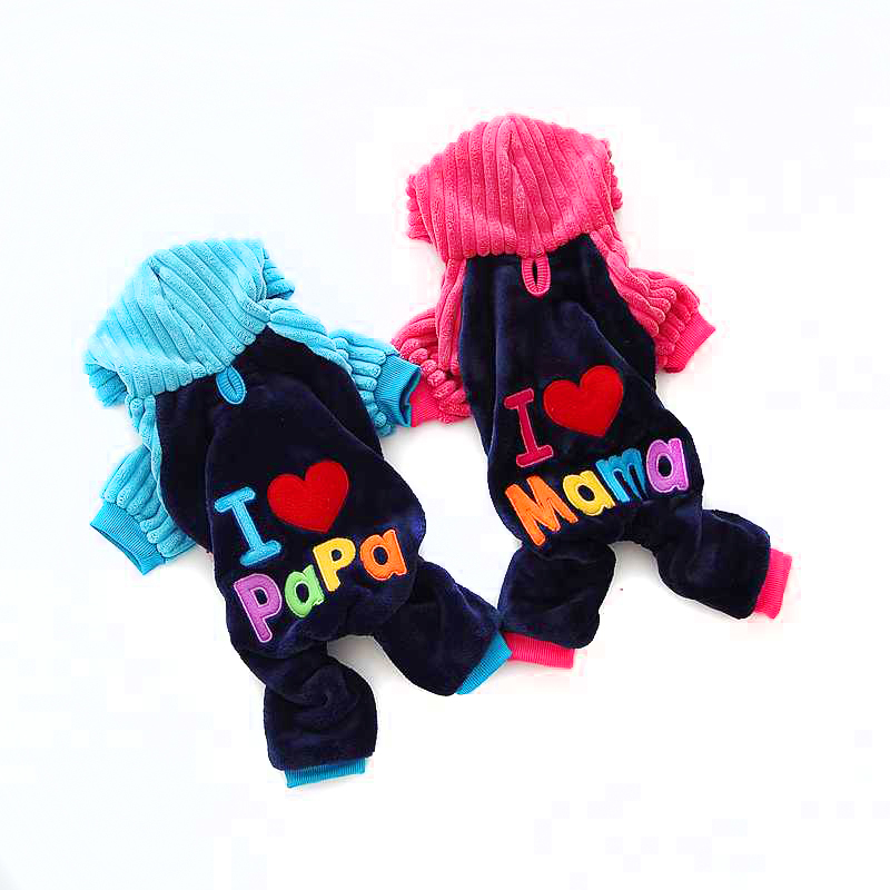 Newest Love Mama Papa Clothing Dlyamalenkih Dogs Pink Blue Winter Warm Pets Cats Costumes Products For Yorkie Terrier Dachshund