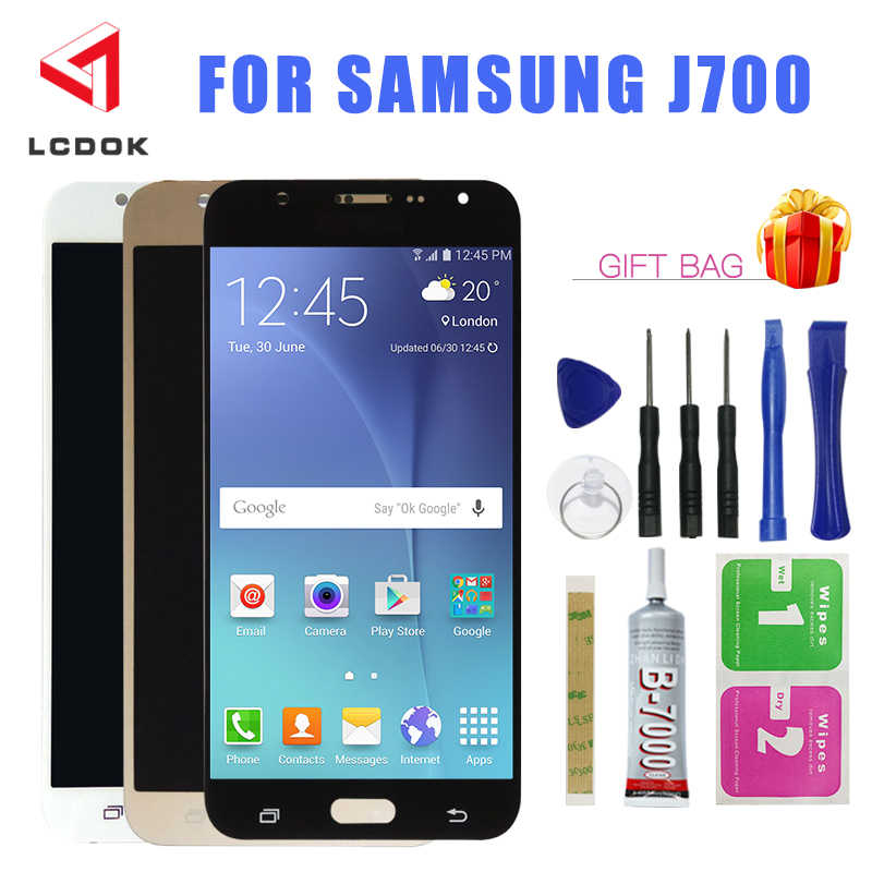 J700 Luminosità Regolabile A CRISTALLI LIQUIDI Per Samsung Galaxy J7 2015 J700 J700F Display LCD Touch Screen Digitizer Assembly Pannello di Ricambio