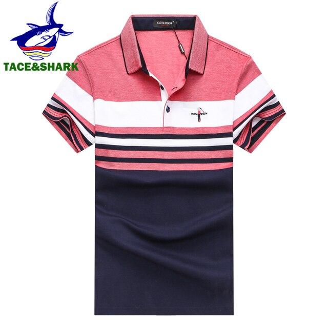 TACE   SHARK marca de alta calidad 2018 hombres moda Casual Golfed Logo polos  Camisa de 2fc7912064e85