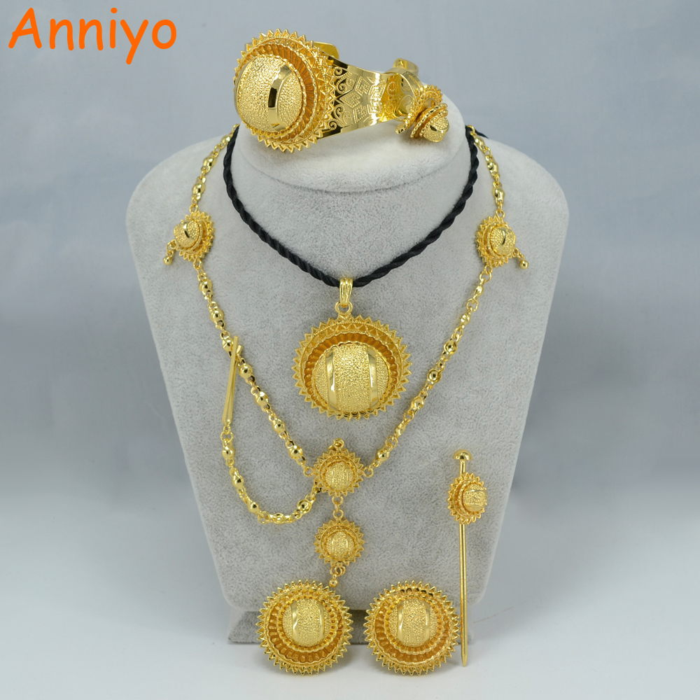 Anniyo Ethiopian Jewelry set Gold Color Eritrea Habesha sets African Traditional Jewellery Best Wedding Gift #000715