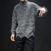 Korean Loose Men's Thick Winter Sweater Harajuku Mens Black Turtleneck Sweater Mohair Warm Knitting Patterns Mens Sweater 5XL