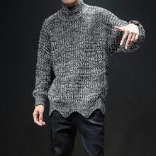 Corea suelta de los hombres suéter grueso invierno Harajuku negro  Turtleneck Mohair suéter caliente patrones que hacen punto sué. 654332dccc2b