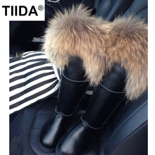 TIIDA New Buckle Knee High Snow Boots Women Boots Top Quality Fashion Lady Waterproof Genuine Leather Winter Boots Warm Boots