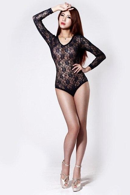 Sexy Mesh Women Lace Body Suit Black Teddy Bodysuit Lingerie Leotard  Combinaison Net Fishnet Club Wear Stripper Clothes 1128b710a