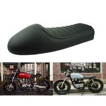 SAFFEN negro para motocicleta tipo Cafe asiento de competición personalizado Vintage sillín con Gibas plana pan Retro asiento para Honda CB125S CB200 CB350 CL350 CB400
