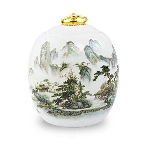 Memorials Misty Mountains Ceramic Pet Urn Medium Holds Up Ashes White Pet Cremation Urn for Ashes