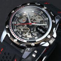 Original Da Forma Transparente Skeleton Automatic Relógio de Pulso Casual Antique Mecânica Auto vento relógio de Pulso masculino relogio Masculino