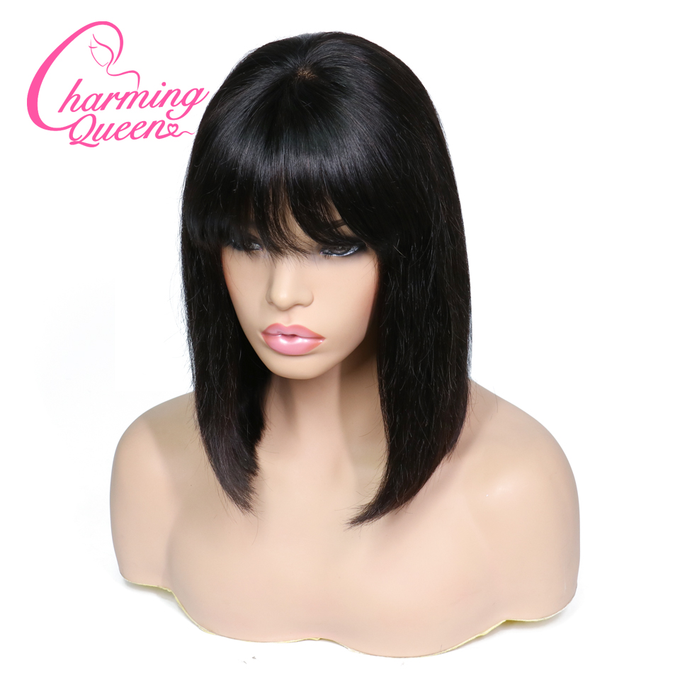 Charming Queen Lace Front Human Hair Wigs With Bangs Brazilian Remy Hair Straight Short Bob Wigs