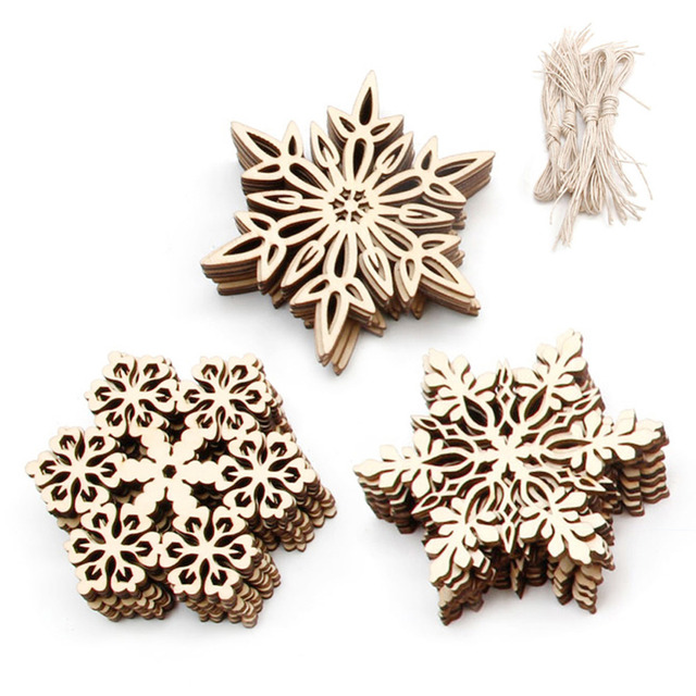 10 pcs wood snowflake embellishments rustic christmas decorations for home xmas tree hanging ornament navidad decor - Rustic Christmas Ornaments