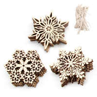 10 Pcs Wood Snowflake Embellishments Rustic Christmas Decorations For Home Xmas Tree Hanging Ornament Navidad Party Decor Aug 26