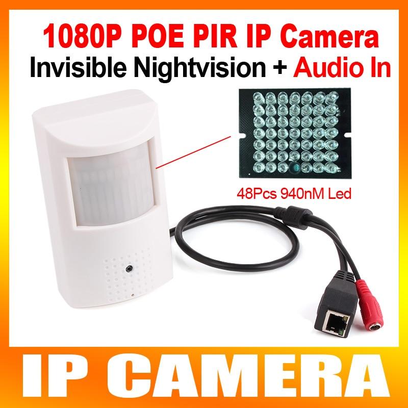 imágenes para PIR ESTILO HD H.264 1080 P 2MP Cámara IP POE + IR de La Visión Nocturna de Audio + Micrófono, 940NM IR 10 M CCTV Cámara