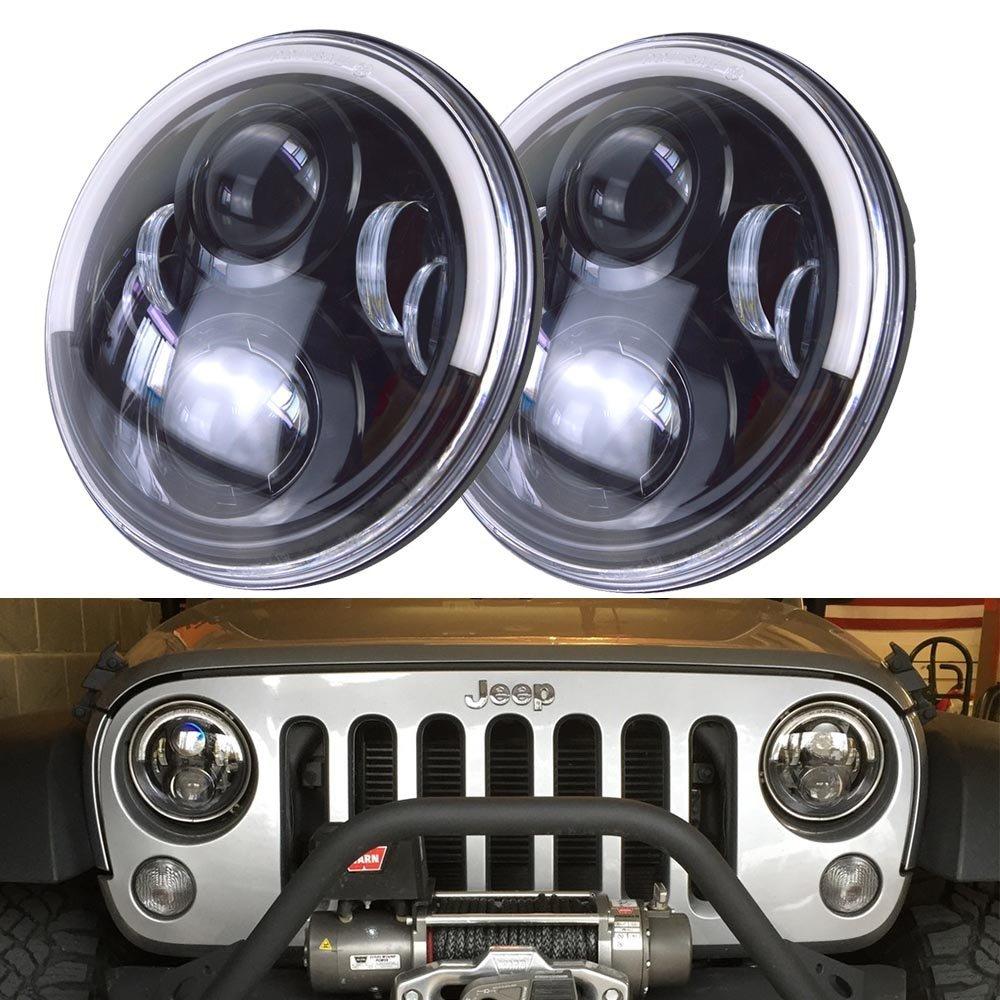 Pair of 7 LED Headlight For Jeep Wrangler JK Harley Headlamp With Half Halo Angel Eye / Yellow Turn Signal Lights / White DRL marloo pair 7 led headlight for jeep wrangler jk headlamp with halo angel eye