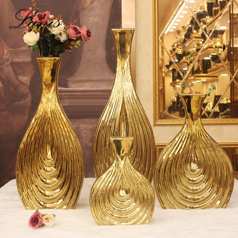 Modern Simple Ins Nordic Style Ceramic Vase Electroplating Pure Gold Crafts Decoration Flower Shop Wedding Vase
