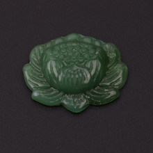 1pc Hand-carved Lotus Flower Natural Green Jadeite Jewelry Pendant(China)