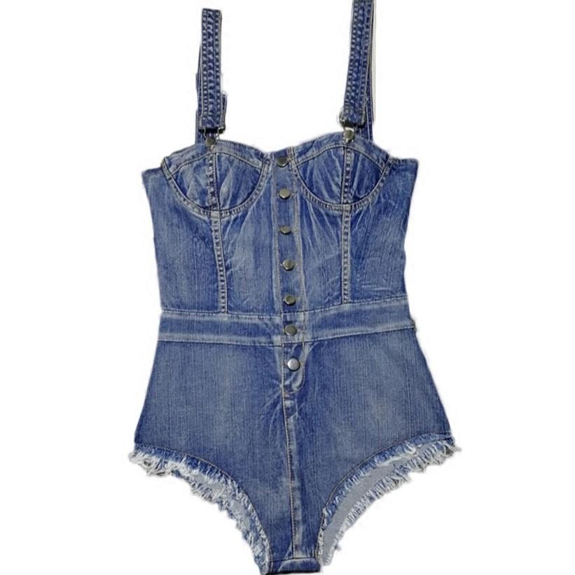 Women Denim Playsuits Strap Sexy Shorts Casual Overalls Rompers