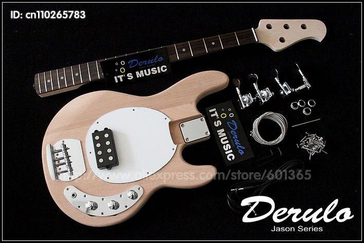 DIY Électrique Basse Guitare Kit Boulonné En Acajou Massif 4 cordes MX-888