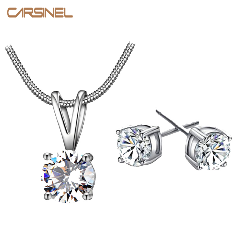 Carsinel Cz Necklace Earring Jewelry Sets Wholesale Silver Color Snake Chain Necklace Stud Earring Wedding Bridal Engagement