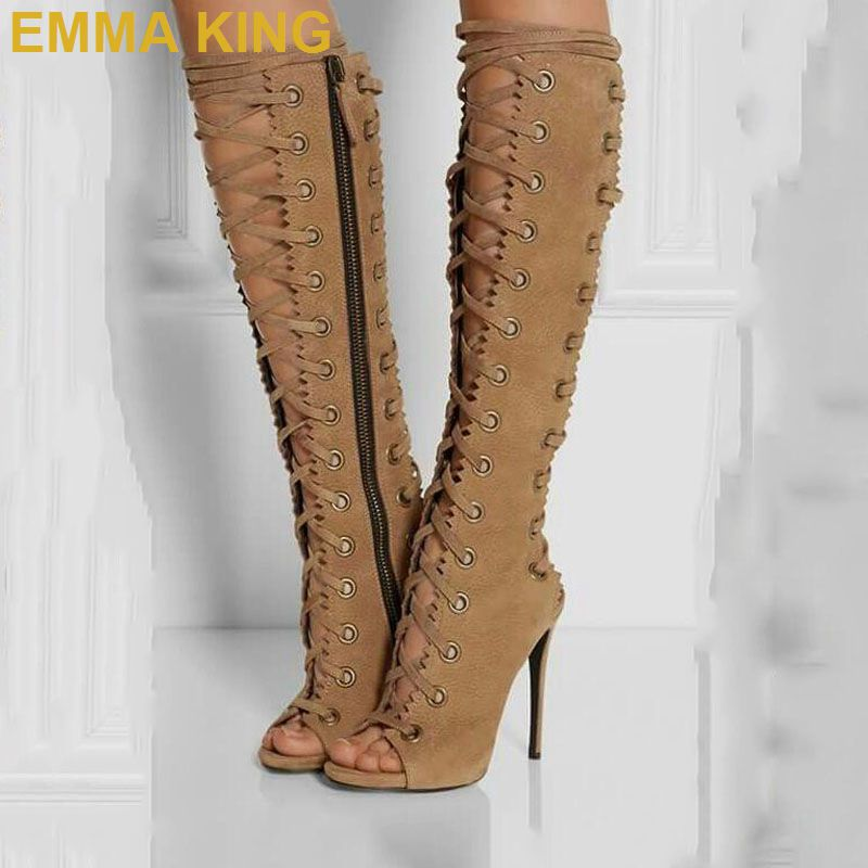 Sexy Lace up Women Knee High Boots Peep Toe Cross-tied Ladies High Heels Shoes Side Zipper Stiletto Boots Spring/Autumn ShoesSexy Lace up Women Knee High Boots Peep Toe Cross-tied Ladies High Heels Shoes Side Zipper Stiletto Boots Spring/Autumn Shoes