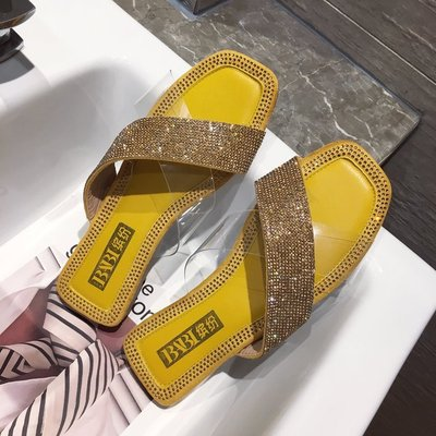 Summer beach slippers casual solid color rhinestones Bling flat open toe sandals transparent rhinestones wear wild slippers Gold in Slippers from Shoes