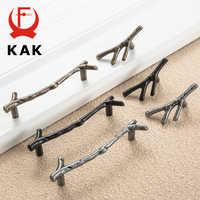 KAK mode arbre branche meubles poignée 96mm 128mm noir argent Bronze armoires de cuisine poignées tiroir boutons porte tire matériel