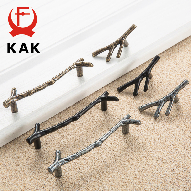 KAK Fashion Tree Branch Furniture Handle 96mm 128mm Black Silver Bronze Kitchen Cabinet Handles Drawer Knobs Door Pulls Hardware 96mm cabinet handles palace euro style furniture ivory with 24k golden knobs closet door handle drawer pulls bars