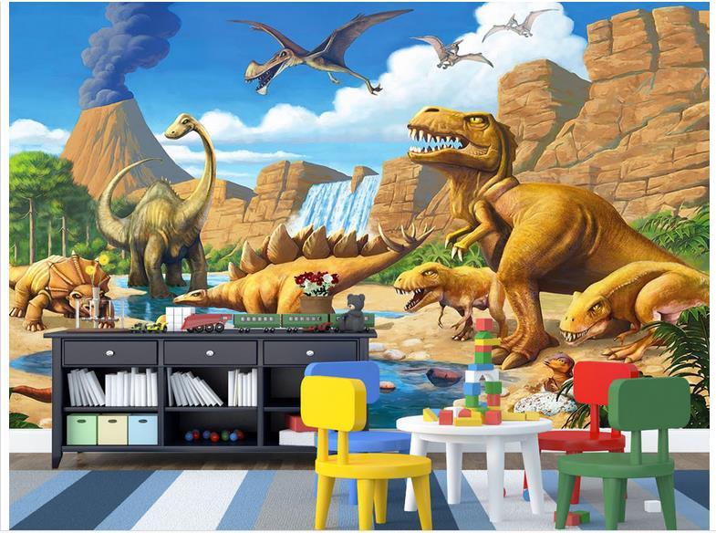 Custom 3d wallpaper 3d wall murals wallpaper for walls 3 d for Dinosaur mural wallpaper