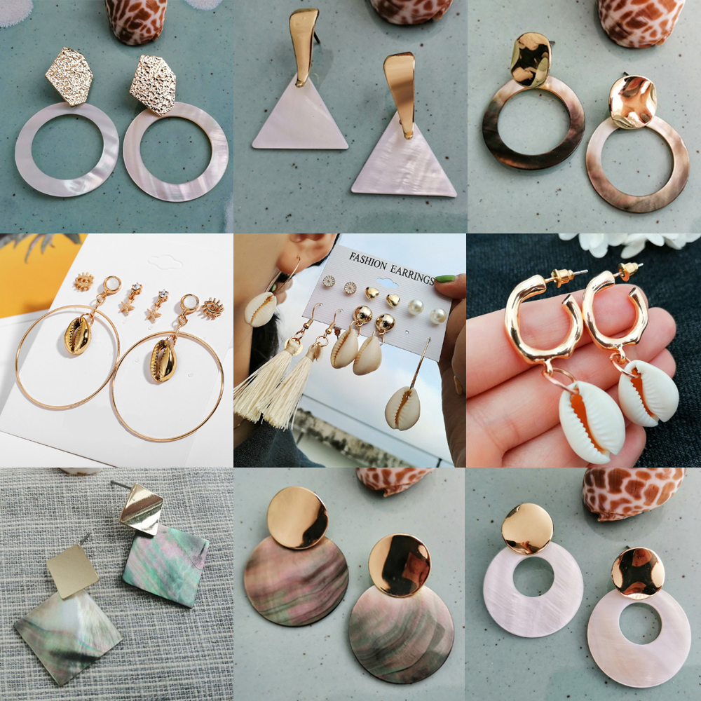 17KM Sea-Shell-Earrings Geometric Jewelry BOHO Round-Drop Women Fashion Circle Brincos