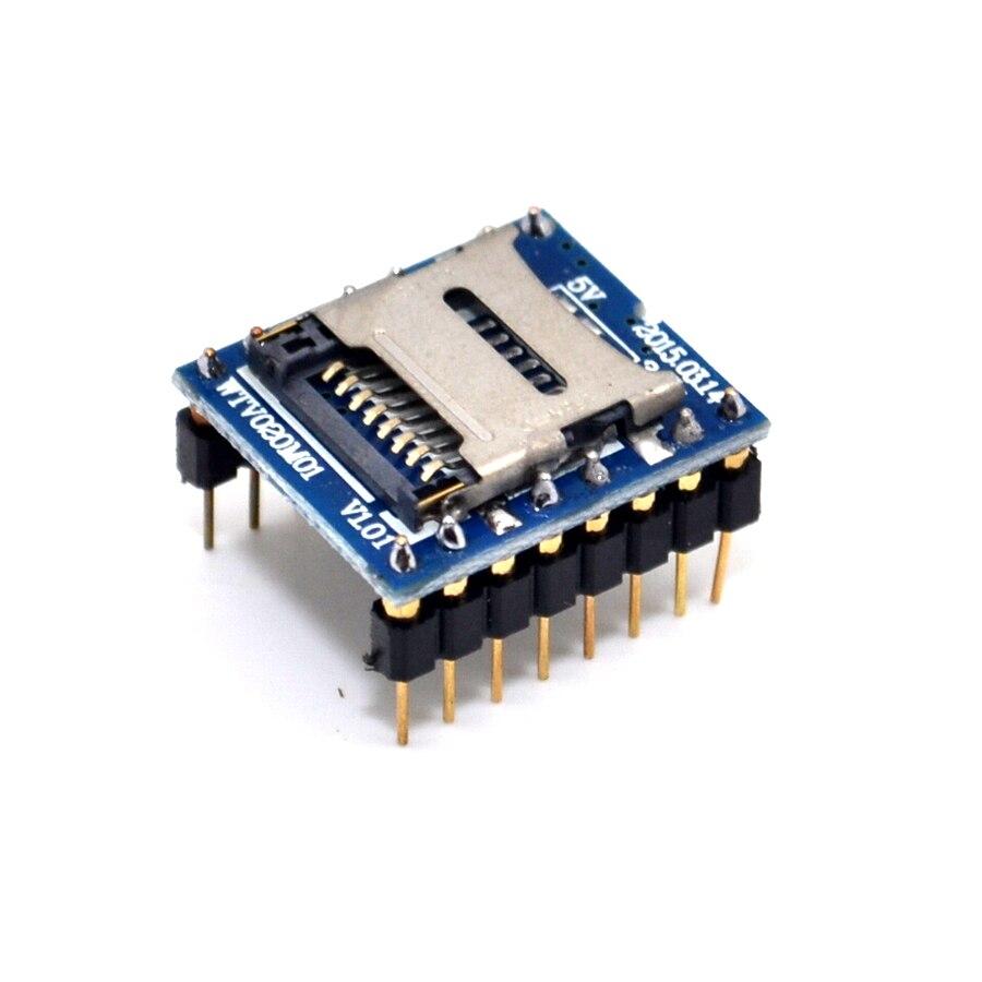 WTV020 WTV020-SD WTV020SD-20SS Mini SD Card MP3 Sound Module For PIC 2560 UNO R3 WTV020-SD-16P wav 10PCS/LOT