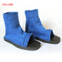 Cosplay Shoes Top Naruto Konoha Ninja Village Black Blue Sandals Boots Costumes Gift