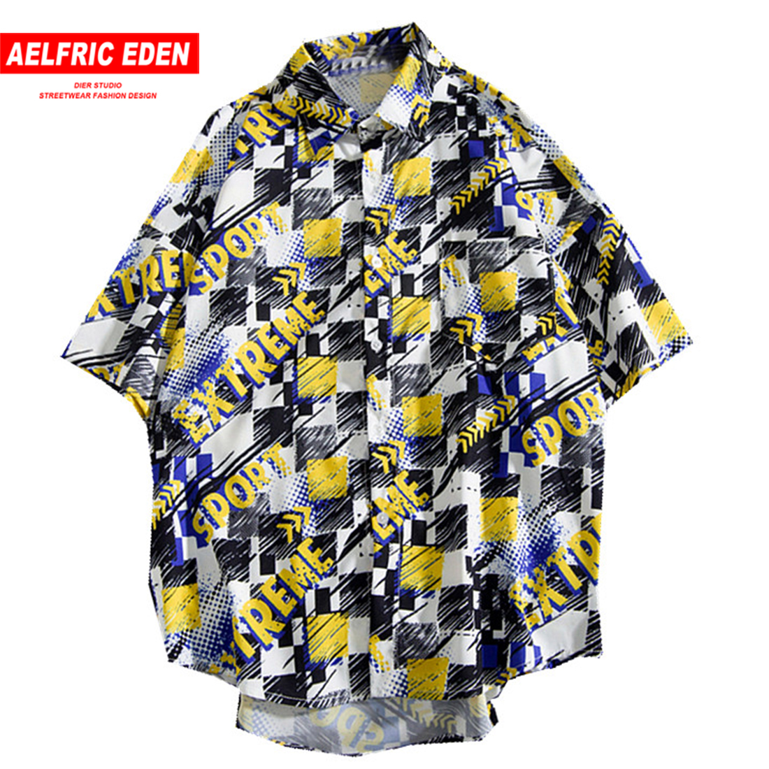 Aelfric Eden Men Shirts Summer Short Sleeve Letter Print Hawaiian Shirt Colorful Summer Streetwear Hip Hop Shirts Slim Fit Tops hoodie