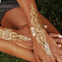 1pcs New Metallic Gold Silver Body Art Temporary Tattoo Sexy Non-Toxic Flash Tattoos Sticker For Women tattoo