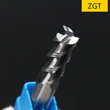 ZGT алюминиевая медная деревянная режущая Концевая фреза HRC50 3 зубая с ЧПУ фрезерные инструменты Вольфрамовая сталь фрезерный станок 1 мм 2 мм 3 мм 4 мм