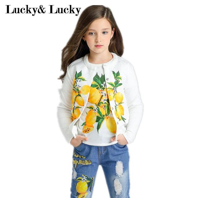 Kimocat девушки одежда 3 шт./компл. детская одежда лимон печатных футболку + пальто + джинсы модные девушки комплект одежды