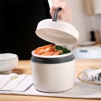 1200ml Ceramic Thermal Lunch Box Microwave Salad Fruit Food Container Leak Proof Lunch Storage Double Layer With Handle School