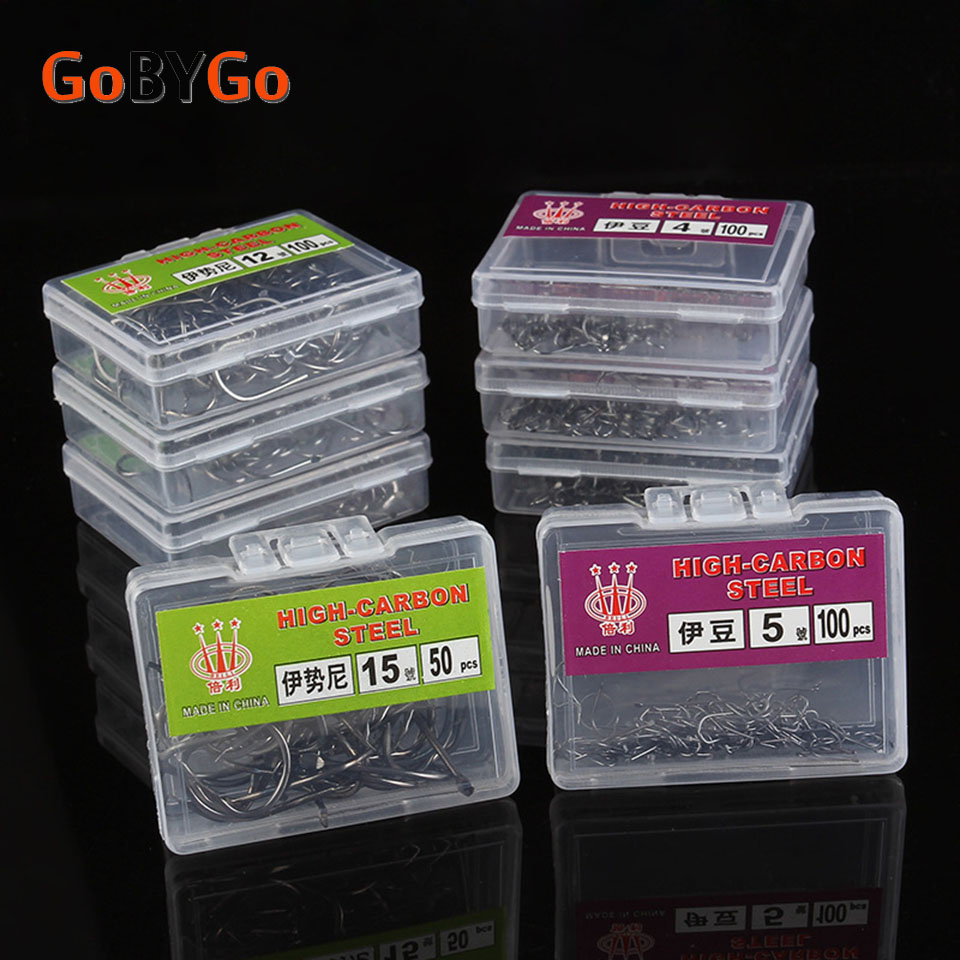 GoByGo 1#-15# Fishing Barbed Hook High Quality Brand Carp Fly Fishing Tackle Accessories Sea Stream Hooks
