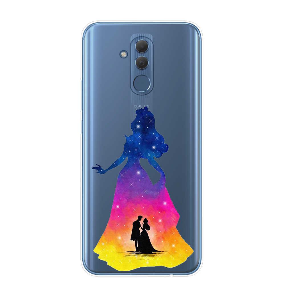 水彩 Disneys ライオンキング人魚姫電話ケース Coque Huawei 社メイト 10 20 Lite プロ Y5 Y6 プライム 2018 y9 2019 カバー