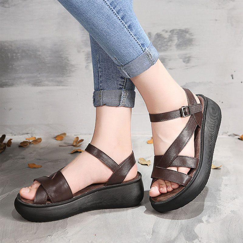 Literary retro leather sandals female 2018 summer wedge with platform shoes fashion casual handmade sandals leather