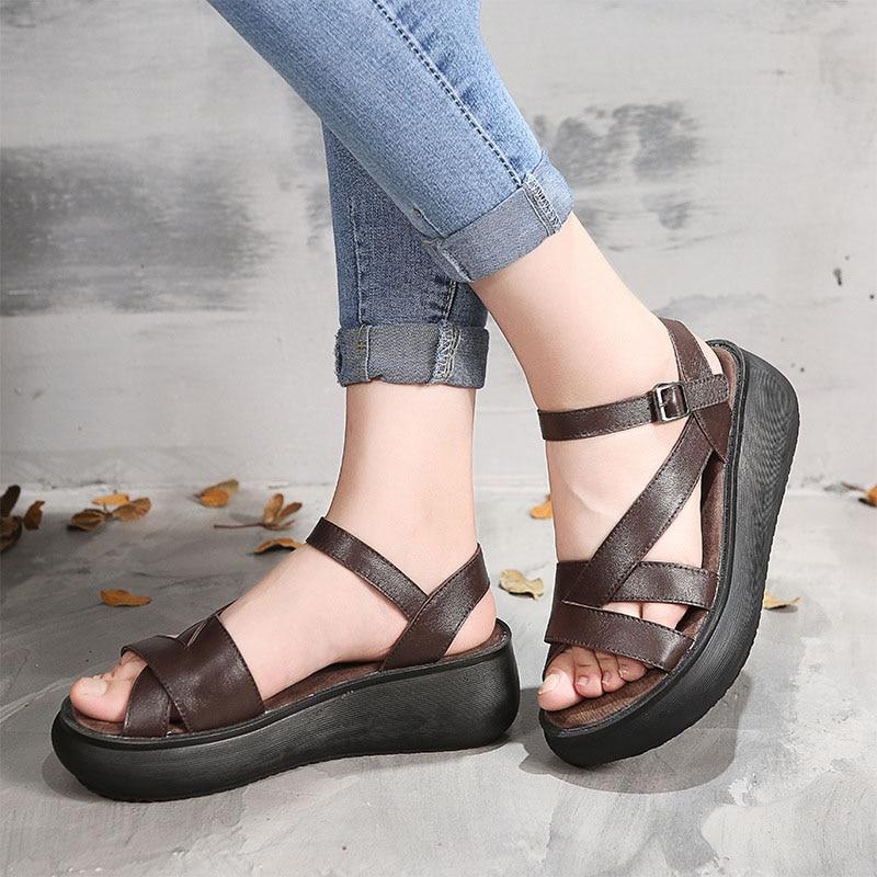 Sandalias de cuero retro literario 2018 cuña de verano con zapatos de plataforma de moda casual sandalias hechas a mano de cuero-in Sandalias de mujer from zapatos    1