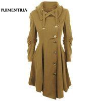 Puimentiua 2018 Plus Size 5XL Women Wool Blend Coat Winter Jackets Women Slim Woolen Coat Cardigan Gothic Female Elegant Jacket