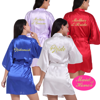 Bride Maid of Honor Letter Golden Glitter Print Kimono Robes Faux Silk Women Bachelorette Wedding Preparewear Bridal Party Robes