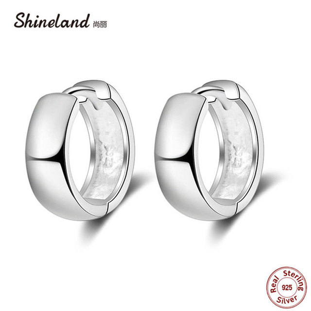 b66ce1f53 Shineland Punk Simple 925 Sterling Silver Small Circles Huggie Hoop Earrings  For Women Men Brinco Bijoux Fashion Jewelry Gifts