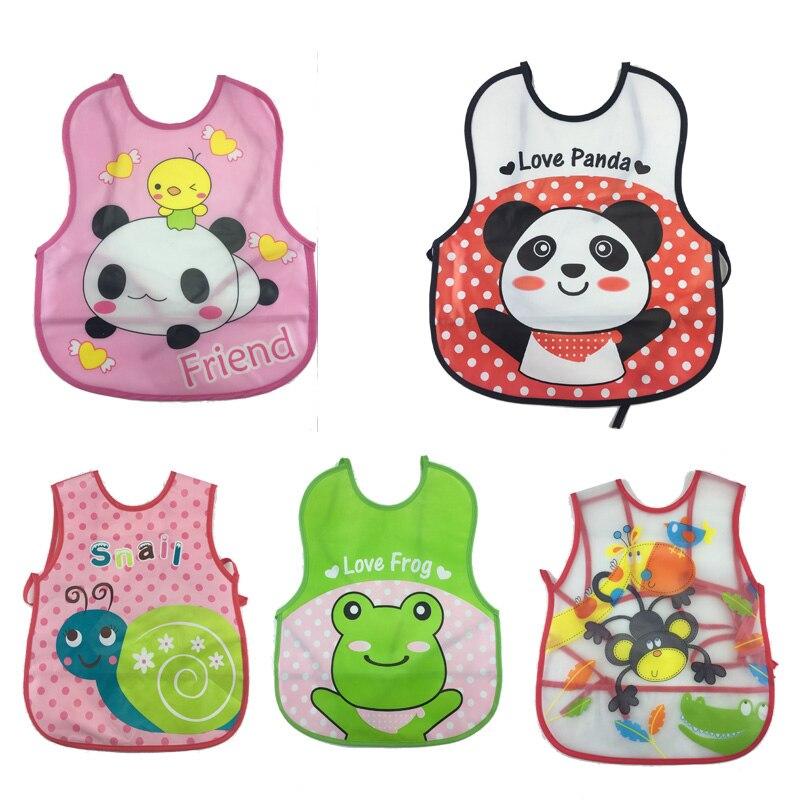 baby Bib Burp Cloths Soft Waterproof Fashion Cartoon Feeding Bib Infant Sleeveless Animal with Pocket 2pcs/set