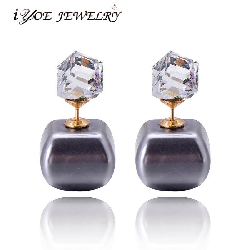 IYOE женские серьги-пусеты золотого цвета с кубическим кристаллом