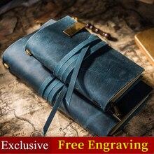 Deri halat Vintage hakiki deri gezginler dizüstü kravat günlük defteri el yapımı inek derisi hediye seyahat not defteri ücretsiz gravür