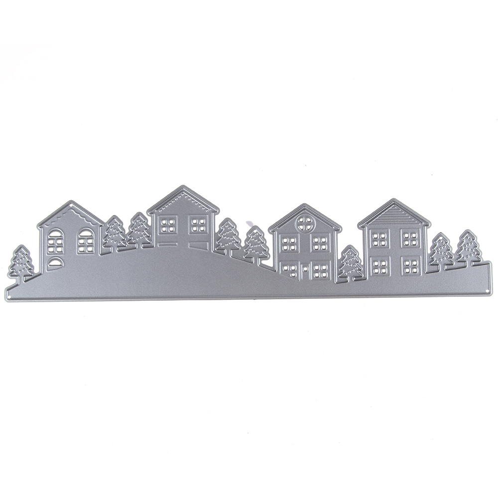 Houses Trees Pattern Metal Cutting Dies Stencils DIY Scrapbook Embossing Album Paper Card Craft Decorative Village Cutting Die ...