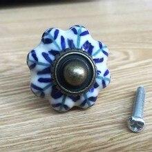 1 Uds azul y blanco porcelana perilla para cajón de gabinete tirar antiguo aparador de la puerta del Gabinete de cocina de los muebles de cerámica perillas
